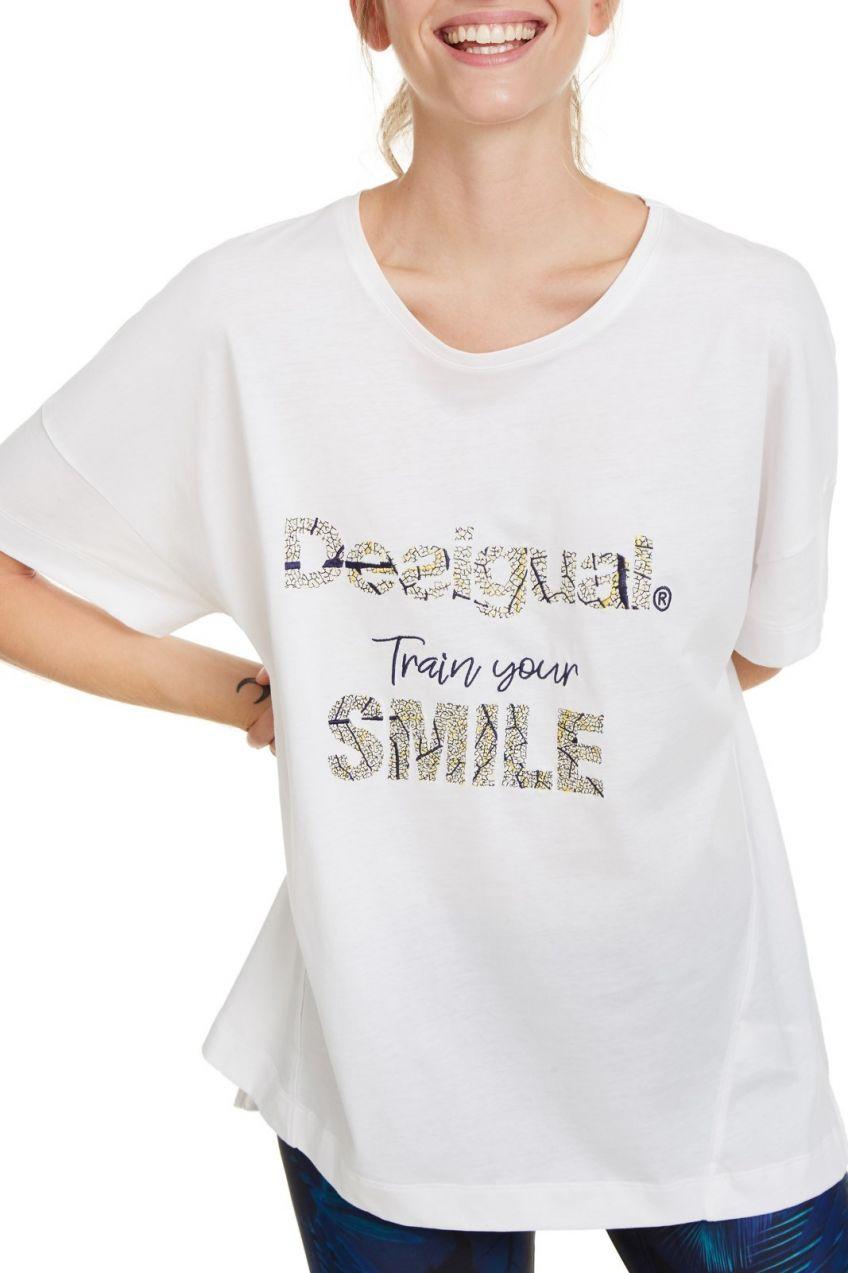 a1636e0880b5 Desigual biele športové tričko T-shirt Bio Patching s farebným logom ...