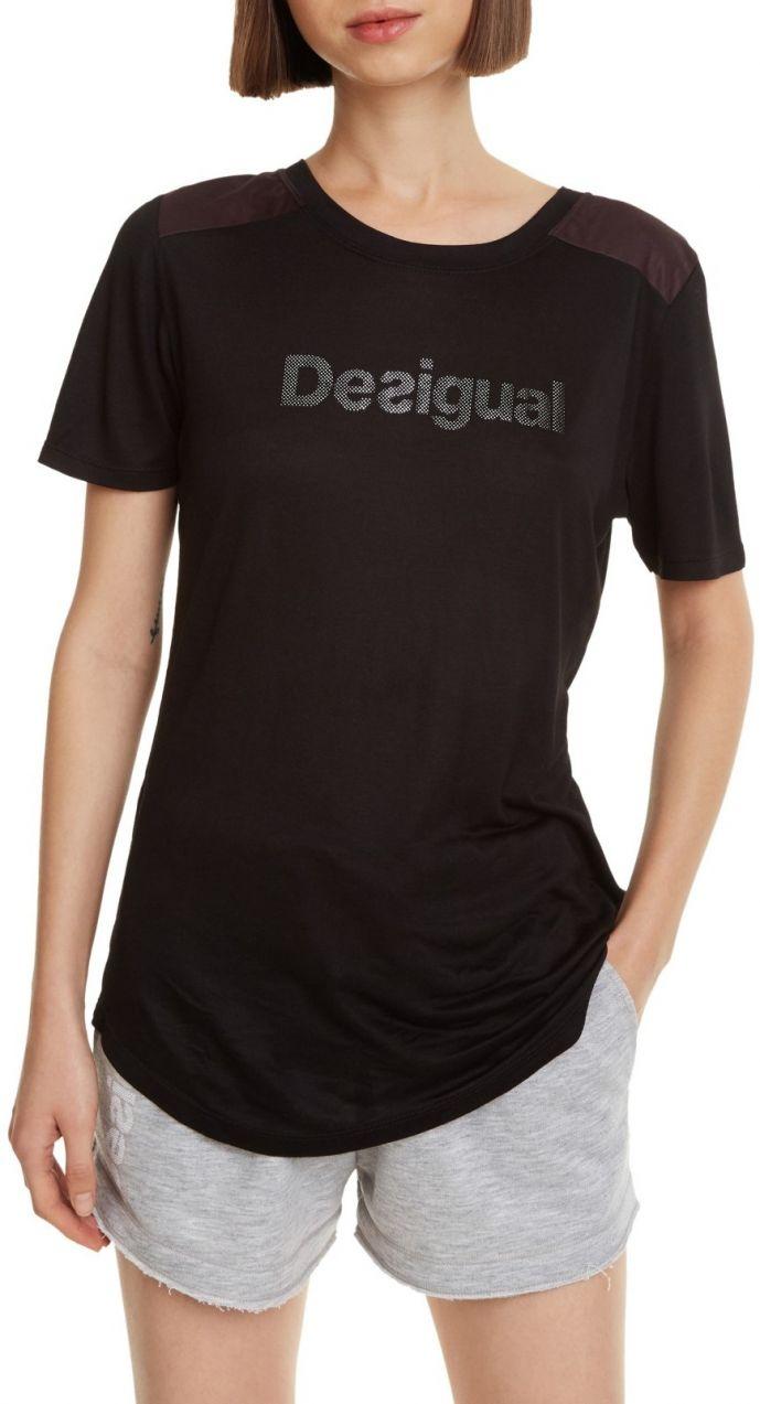 Desigual čierne športové tričko Essentials Tee s logom značky ... 59af9c084b0