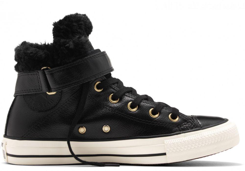 1ae8f025f8c0 Converse čierne kožené dámske topánky Brea s kožušinkou značky ...