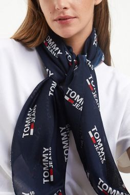 Tommy Hilfiger modrá šatka TJU Logo Allover Scarf Corporate