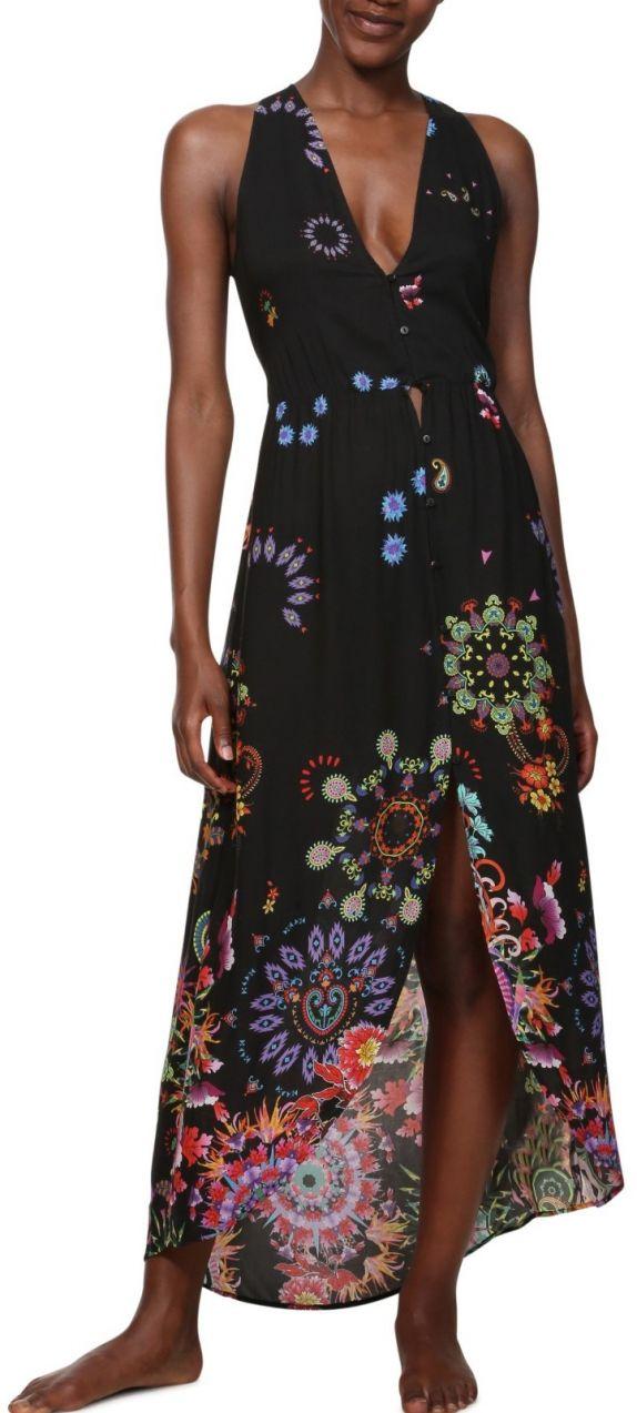 cdb7cf8cc994 Desigual čierne šaty Vest Magda s farebnými motívmi značky Desigual ...