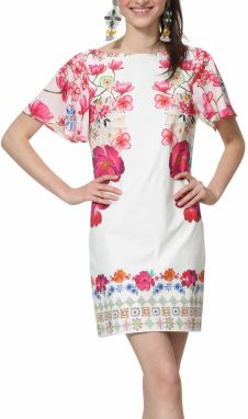 Desigual biele šaty Vest Clio s farebnými motívmi 8ced83b73c1