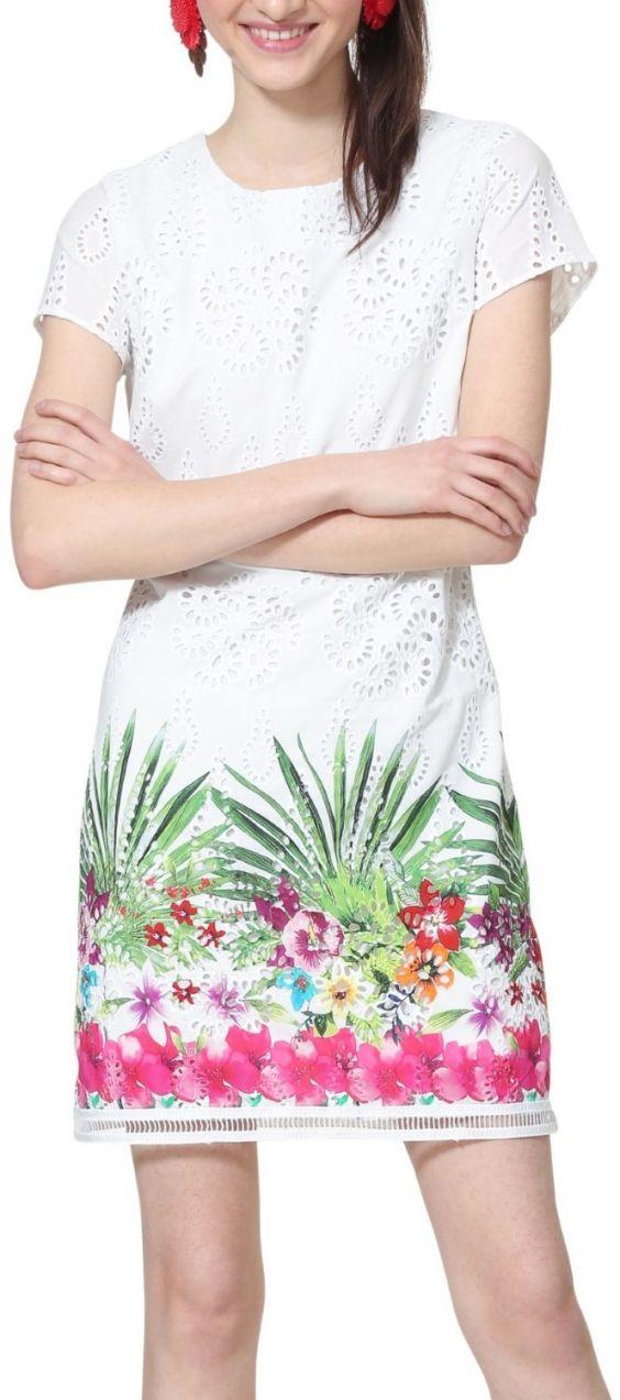Desigual biele šaty Vest Denver s farebnými motívmi značky Desigual ... a72edb21529