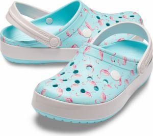 00b57c3acf97 Crocs tyrkysové šľapky s plameniakmi Crocband Seasonal Graphic Clog Ice  Blue Pink