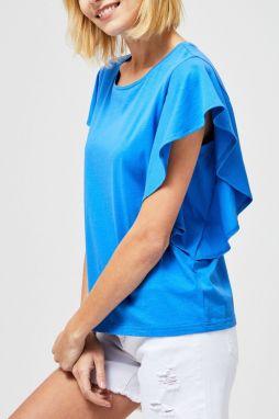 47a59e53f2b4 Moodo modré tričko s volánmi