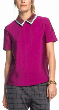 Scotch & Soda fuchsiovej top Double Collared