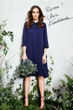 99334616babe Moodo tmavo modré košeľové šaty s golierom