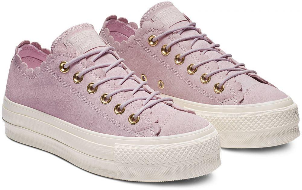 7305bf5192940 Converse ružové kožené tenisky na platforme Chuck Taylor All Star Lift OX  Pink Foam
