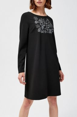 8407c8c3b552 Moodo čierne šaty so sivými výšivkami