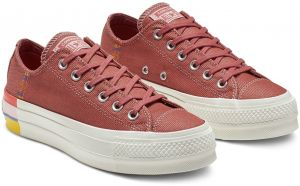 Converse vínové/bordové tenisky na platforme Chuck Taylor All Star Lift Ox Coastal Pink/Light Redwood