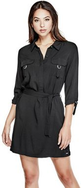 Guess Dámske šaty Effie D-Ring Shirtdress Black L