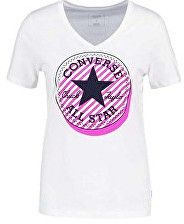 Converse Dámske tričko Off Center Stripe Fill CP Vneck Tee White M