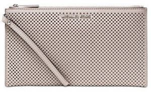 Michael Kors Elegantné puzdro Jet Set Travel Large Zip Clutch Cement