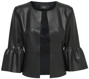 ONLY Dámske sako Dance Frill Faux Leather Jacket Otw Black 36