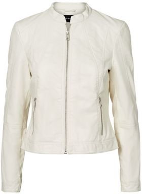 Vero Moda Dámska bunda Ever Short Faux Leather Jacket Snow White M