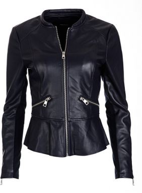 Vero Moda Dámska bunda Ebru Butter Short Faux Leather Jacket Night Sky Silver Trim XS