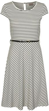 Vero Moda Dámske šaty Vigga Flair Capsleeve Dress Noos Snow White Black M