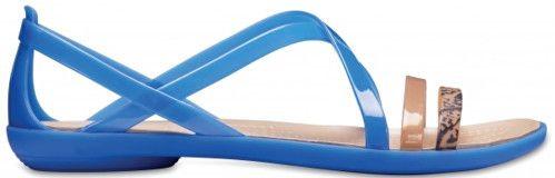 66b2cd0121675 Crocs Dámske sandále Isabella Grph Strappy Sandal Blue Jean/Gold 205084-4HT  36-37