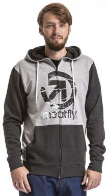 Meatfly Pánska mikina Knockout Hood ie C- Heather Charcoal, Heather Gray M