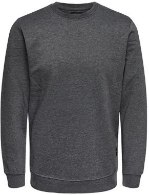 ONLY&SONS Pánsky sveter Basic Sweat Crew Neck Brushed Noos Dark Grey Melange S