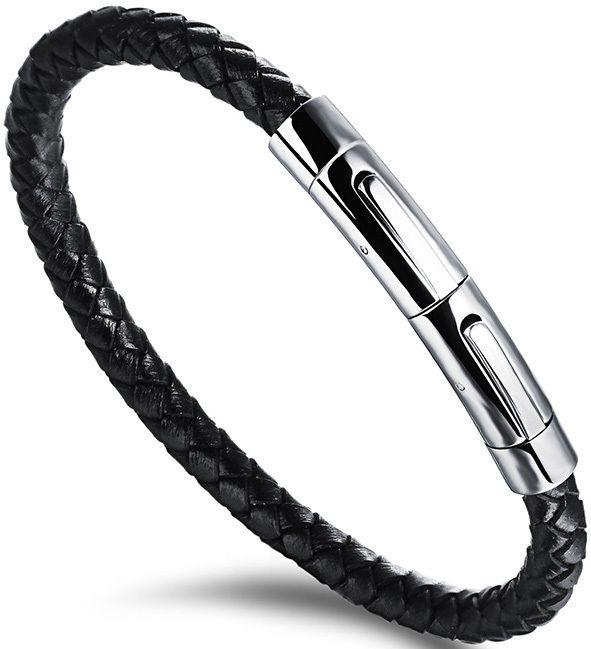 1335f6a35 Troli Čierny prepletený náramok s oceľovou sponou Leather značky ...