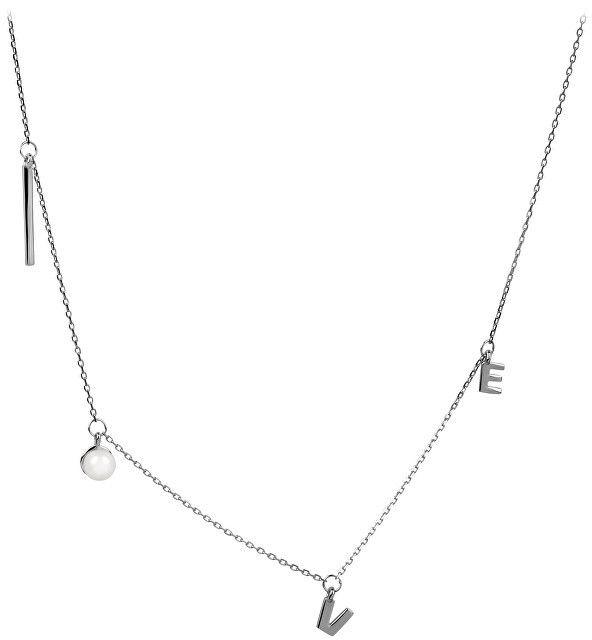 a88bb90bf JwL Luxury Pearls Strieborný náhrdelník Love s pravou perlou JL0340 ...