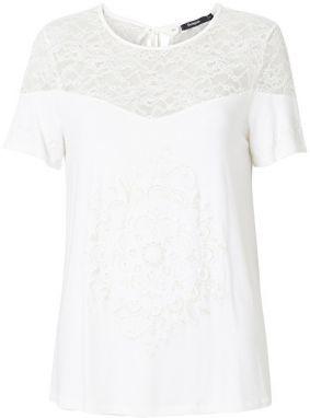 e77faddaab64 Biele voľné tričko s potlačou a kamienkovou aplikáciou Desigual ...