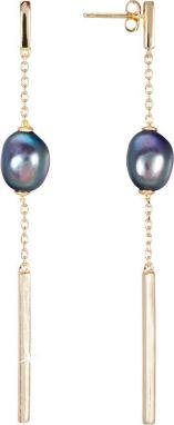6bce6033d JwL Luxury Pearls Pozlátené strieborné náušnice s pravou modrou perlou  JL0463