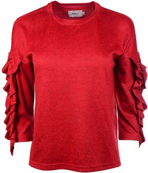 63dd3d49a8d7 ONLY Dámsky sveter Ida Spring 3 4 Ruffle Pullover KNT Flame Scarlet S