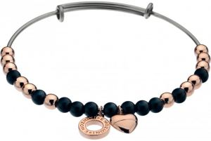 Hot Diamonds Oceľový náramok Emozioni Rose Gold Black Glass DC104