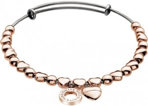 Hot Diamonds Oceľový náramok Emozioni Rose Gold Plate Heart DC095