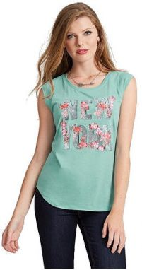 Guess Top Cap-Sleeve New York Muscle tyrkysová XS
