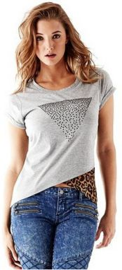 Guess Tričko Short-Sleeve Asymmetrical Cascade Triangle XXS