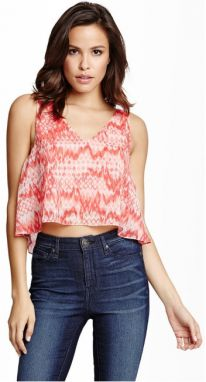 Guess Dámsky top Faustine Cropped V-Neck Top M
