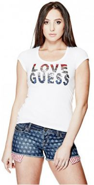 Guess Dámsky top Kaida Sequin Tee S