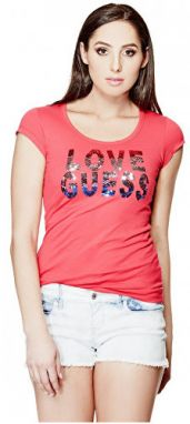 Guess Dámsky top Kaida Sequin Tee Red S