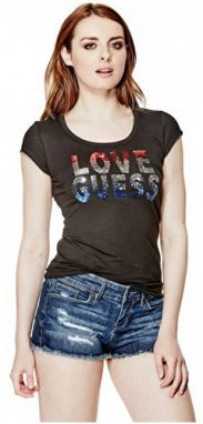 Guess Dámsky top Kaida Sequin Tee Black M