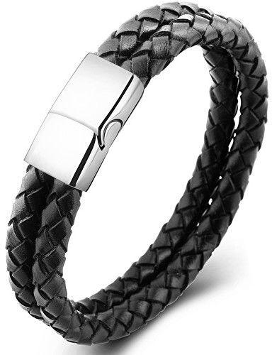 d05e6999a Troli Dvojitý čierny náramok z prepletané kože Leather značky Troli ...