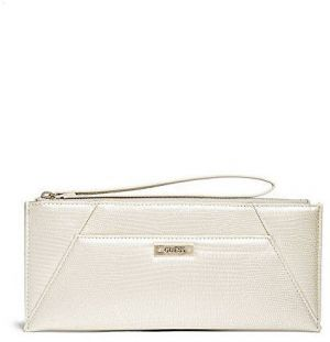 Guess Elegantnej listová kabelka Avery Wristlet Zlato-biele 3fac30ba452