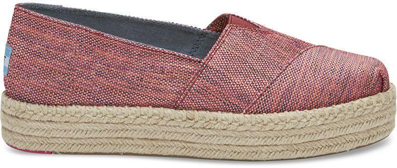 c07e0bdd9116 TOMS Dámske červené topánky na platforme Pomegranate Woven Platform  Alpargata 37 značky Toms - Lovely.sk