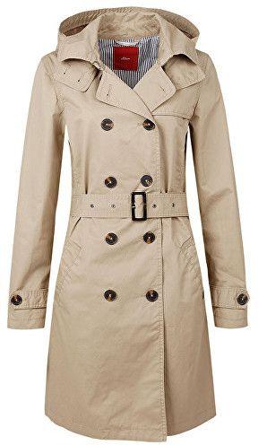 a013078c2f s.Oliver Dámsky dlhý béžový kabát 34 značky s.Oliver - Lovely.sk