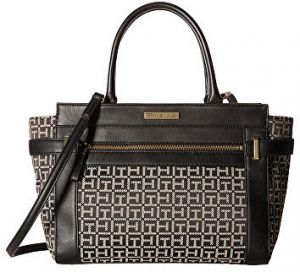 Tommy Hilfiger Elegantná kabelka Savanna Monogram Jacquard Convertible Shopper Black/White