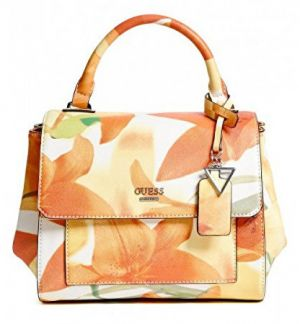 Guess Elegantná kabelka Take A Dive Floral Satchel Orange Multi