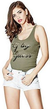 Guess Dámsky top G by GUESS Amma Logo Tank Green S