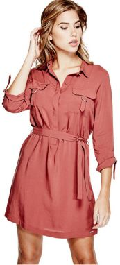 Guess Dámske šaty Effie D-Ring Shirtdress Brick L