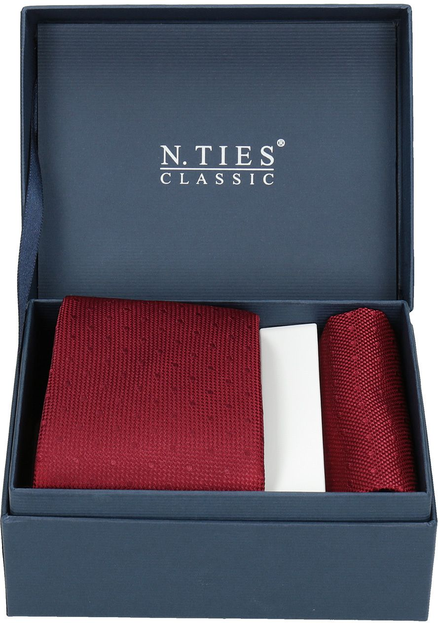 e39c15b2c Červená sada kravaty a vreckovky značky N.Ties - Lovely.sk