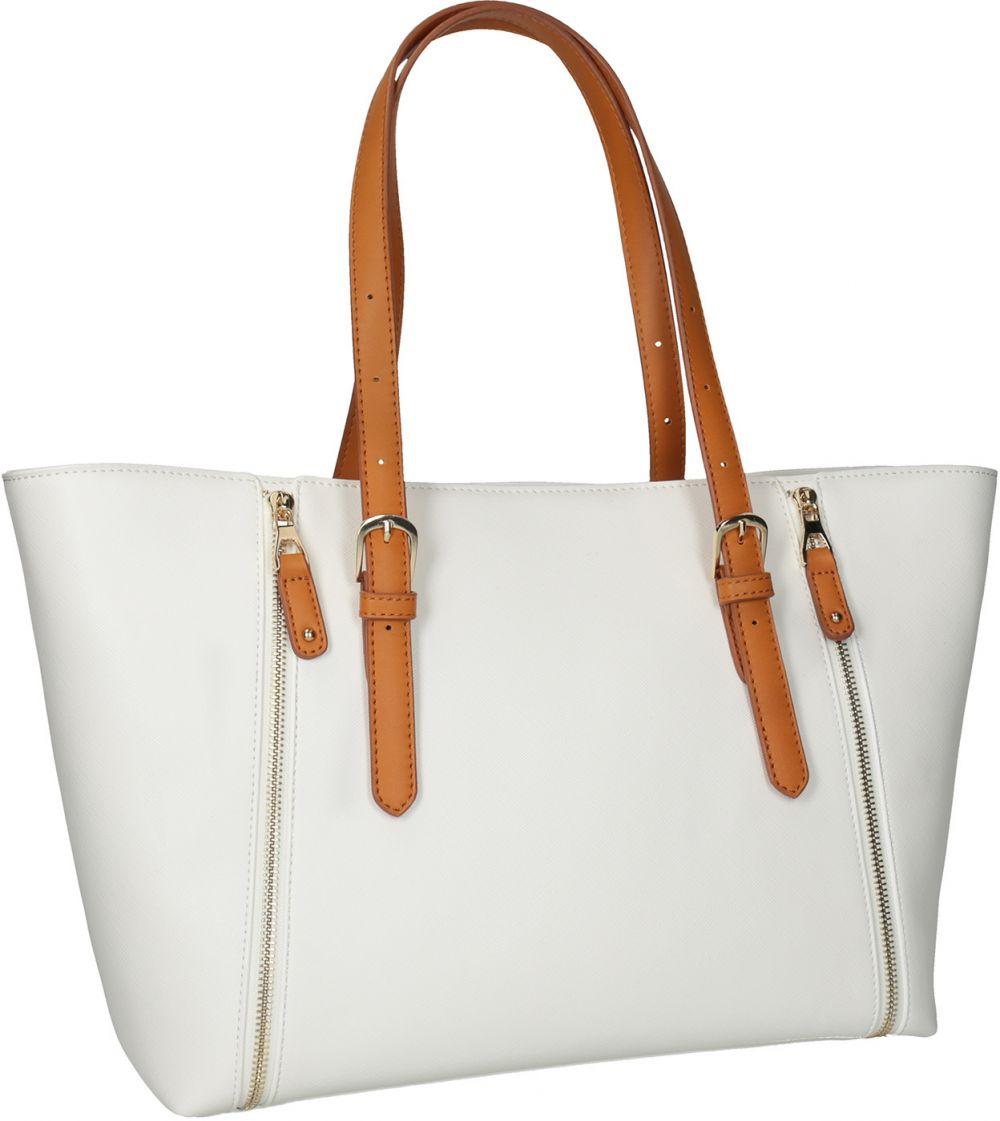 Krémová kabelka s ozdobnými zipsami značky Baťa - Lovely.sk 0ed1ed2f80d