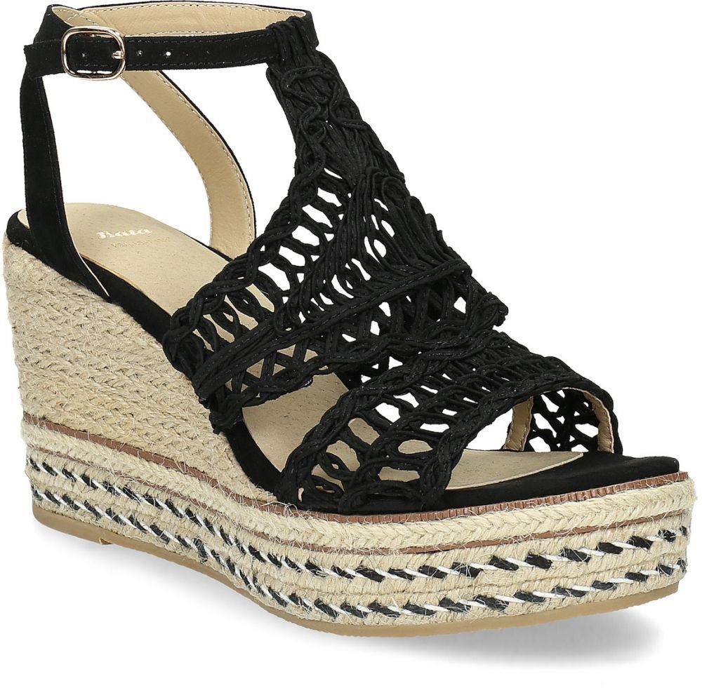 66f0357cf72e Čierne prepletané sandále na platforme značky Baťa - Lovely.sk