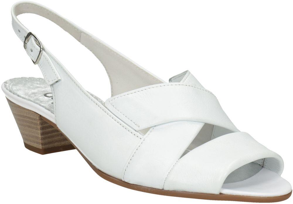 715e6ba3b6 Biele kožené sandále na stabilnom podpätku šírky H značky Gabor - Lovely.sk
