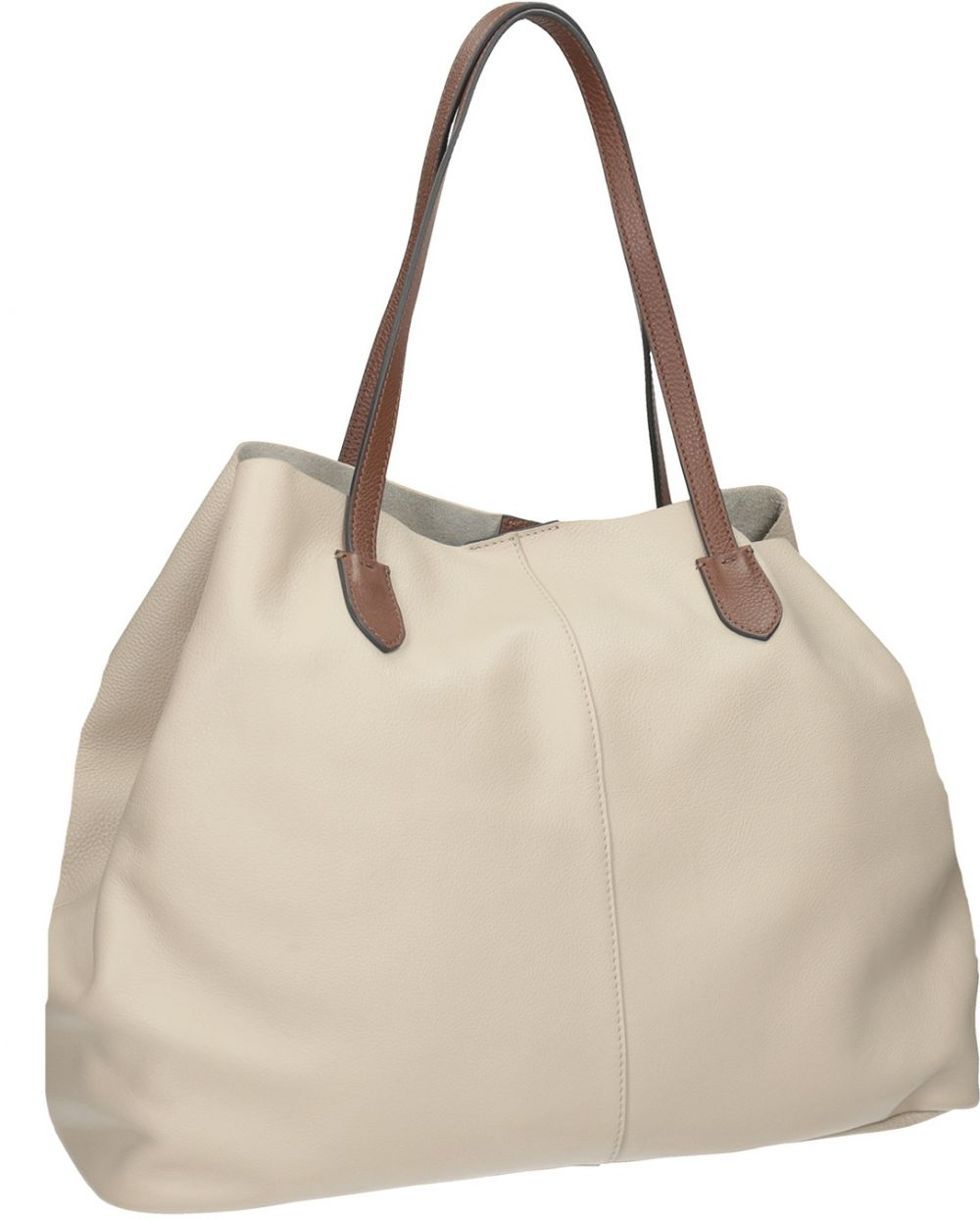 Béžová kožená kabelka s hnedými rúčkami značky Baťa - Lovely.sk 2f62d776506